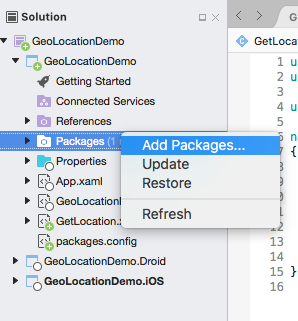 GeoLocator in Xamarin Stape