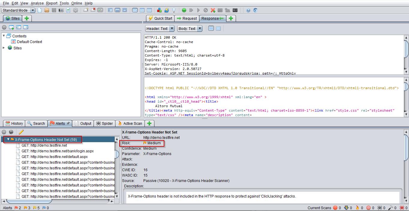X-Frame options header not set