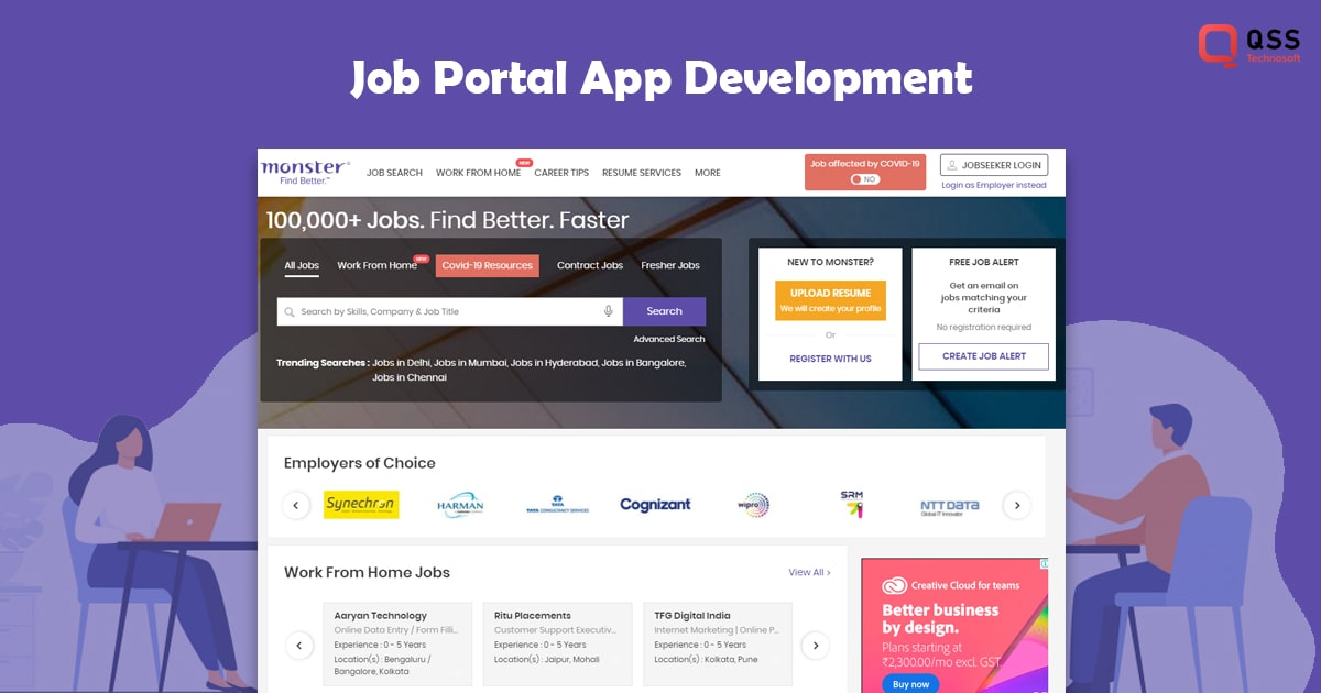 job search app development cost