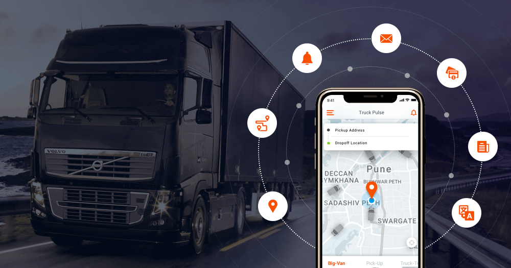 logistics app showing truck location